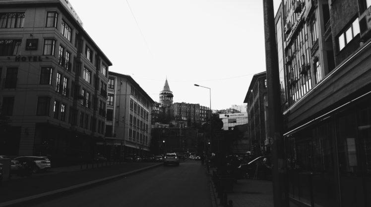 karakoi, Istanbul, Galata Kulesi, Galata, Monochrome HD Wallpaper Desktop Background