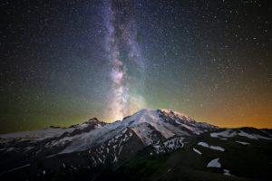 stars, Mountains, Snowy peak