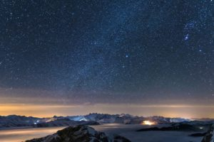 stars, Space, Galaxy, Clouds, Mountains, Mist, Snowy peak