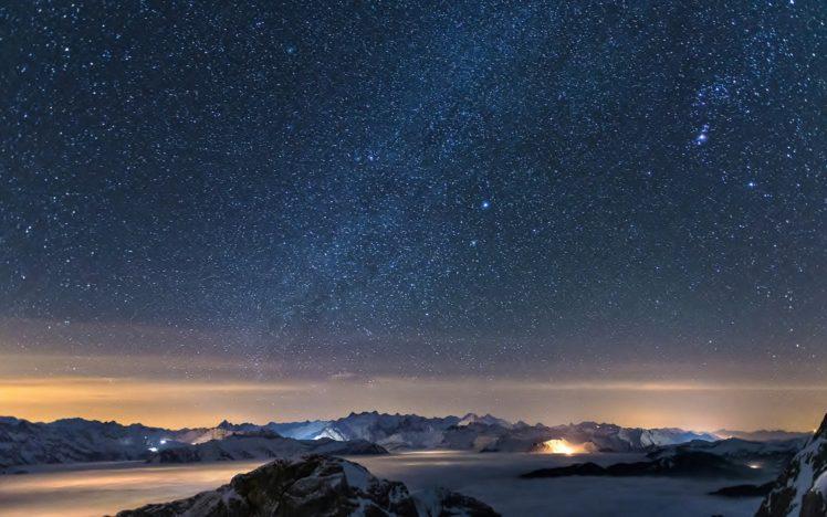 stars, Space, Galaxy, Clouds, Mountains, Mist, Snowy peak HD Wallpaper Desktop Background