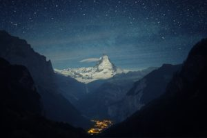 stars, Space, Galaxy, Clouds, Mountains, Snowy peak, Snow