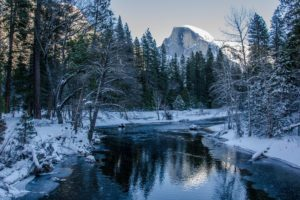clouds, River, Trees, Mountains, Snow