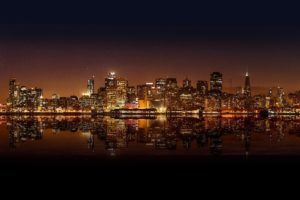city, Lights, Cityscape, Water, Night, San Francisco