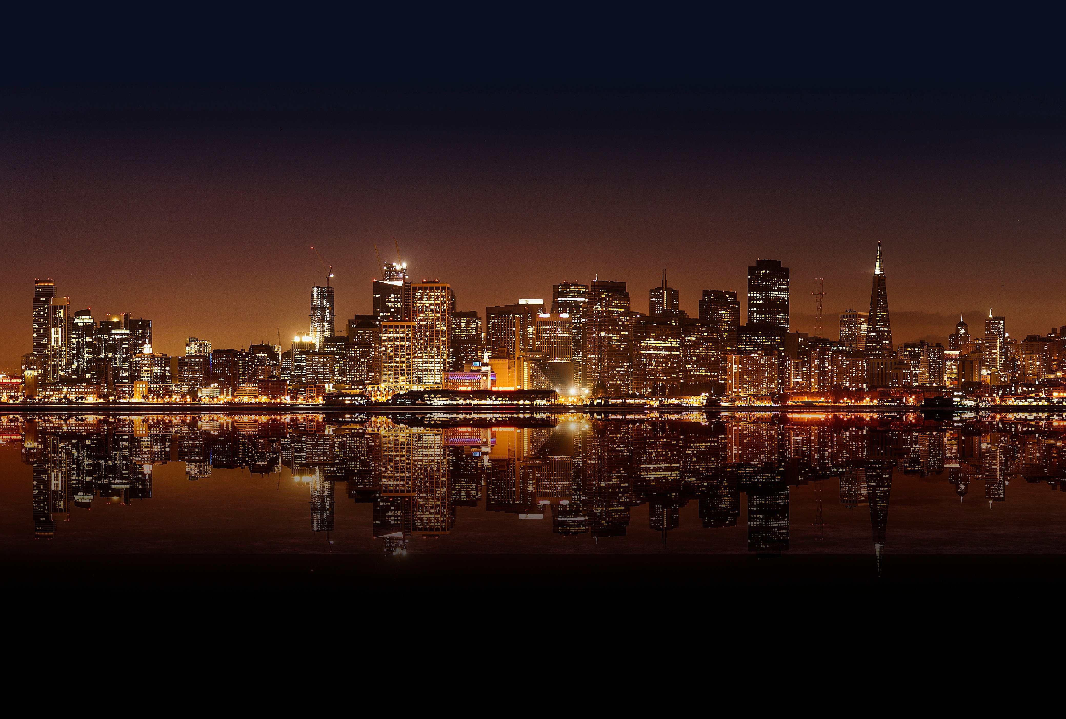 city lights cityscape water night san francisco hd