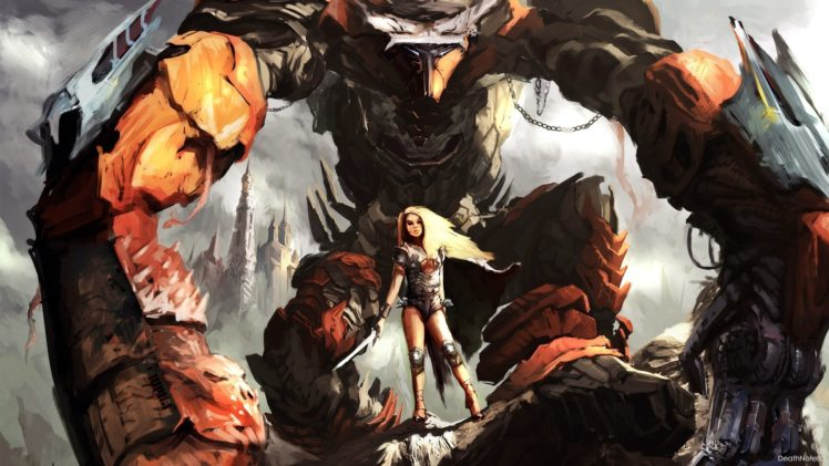 warrior, Desert, Robot, Science fiction HD Wallpaper Desktop Background