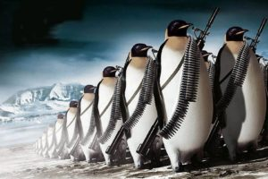 penguins, Machine gun, War, Digital art