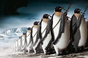 penguins, Machine gun, War, Digital art