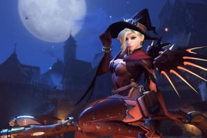 witch, Overwatch, Mercy (Overwatch), Halloween, Blizzard Entertainment, Video games