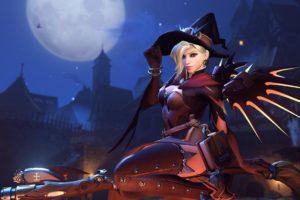 witch, Overwatch, Mercy (Overwatch), Halloween, Blizzard Entertainment, Video games