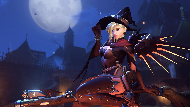 witch, Overwatch, Mercy (Overwatch), Halloween, Blizzard Entertainment, Video games Wallpaper