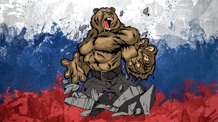 Russia, Bears, Flag HD Wallpaper Desktop Background