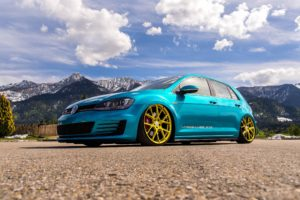 Volkswagen Golf, Blue cars, Mountains