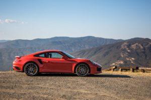 red cars,  Porsche 911 Turbo S 2017, Mountains, Porsche 911
