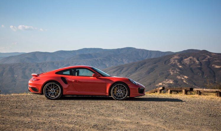red cars, Porsche 911 Turbo S 2017, Mountains, Porsche 911 HD Wallpaper Desktop