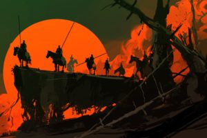Dominik Mayer, Fantasy art, Night, Sunset, Artwork