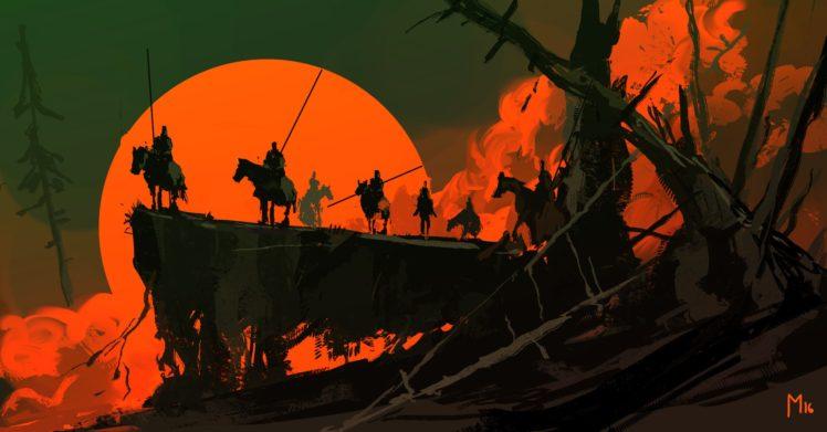 Dominik Mayer, Fantasy art, Night, Sunset, Artwork HD Wallpaper Desktop Background