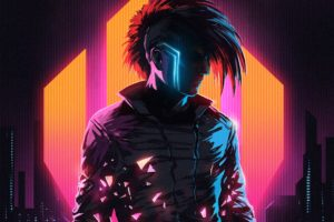 Klayton, Scandroid, Neon, Cyberpunk, Cityscape, Digital art