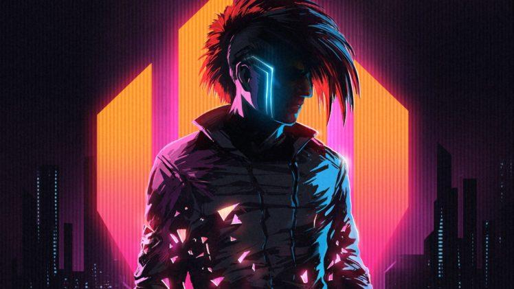 Klayton, Scandroid, Neon, Cyberpunk, Cityscape, Digital art HD Wallpaper Desktop Background