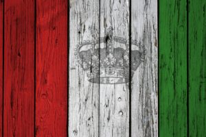 Italy, Flag, Crown, Wood