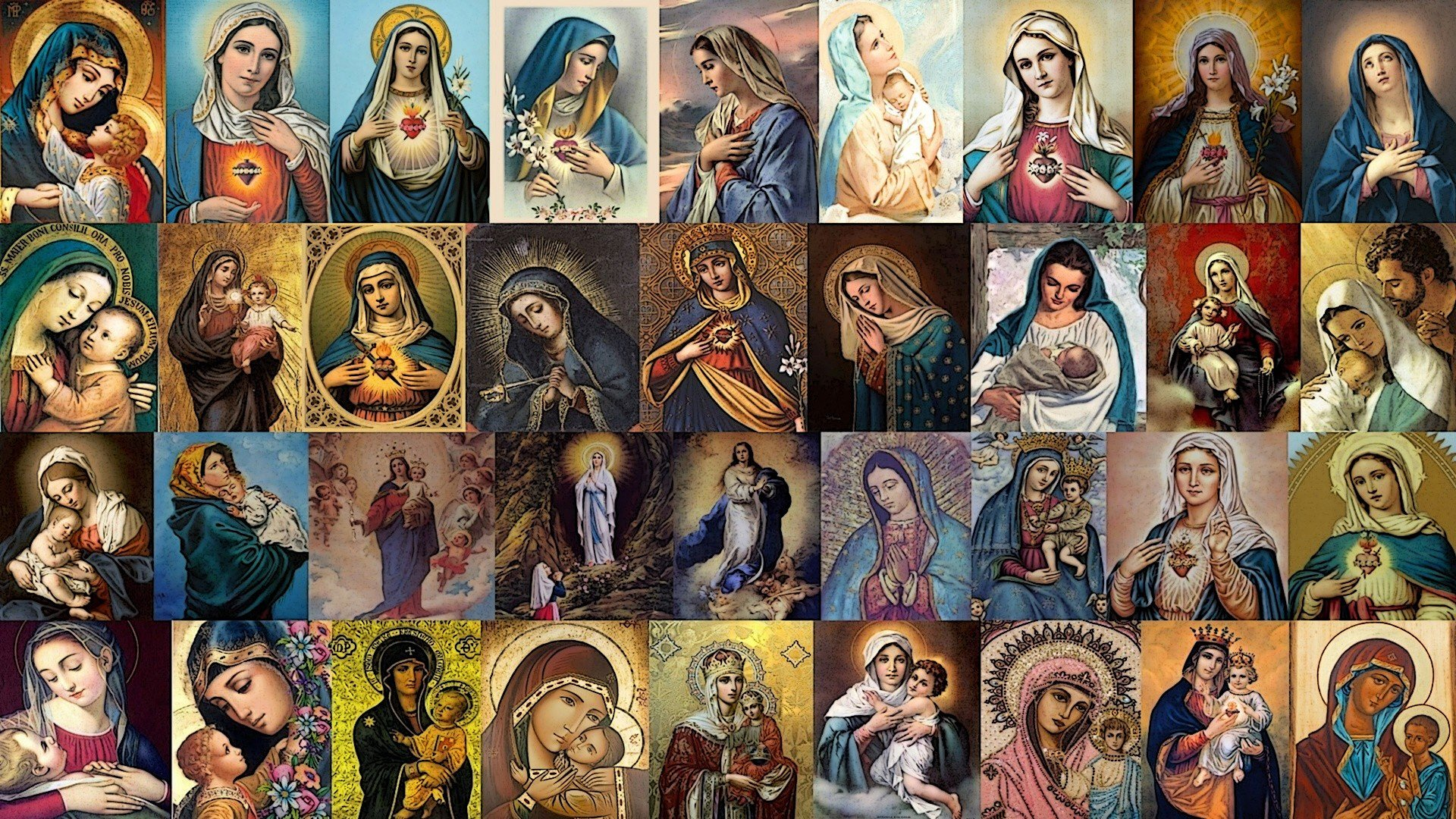 Virgin Mary, Jesus Christ, Collage, Christianity, Religion Wallpaper