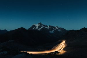 mountains, Snow, Road, Lights, Stars, Nature