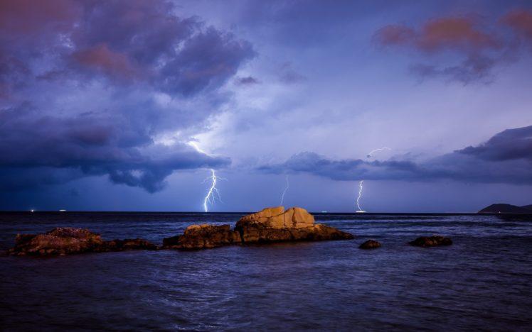 landscape, Lightning, Nature HD Wallpaper Desktop Background