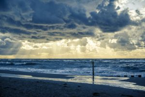 Poland, Beach, Nature, Sun rays, Clouds, Sea, Baltic Sea