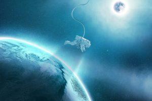 astronaut, Space art, Planet