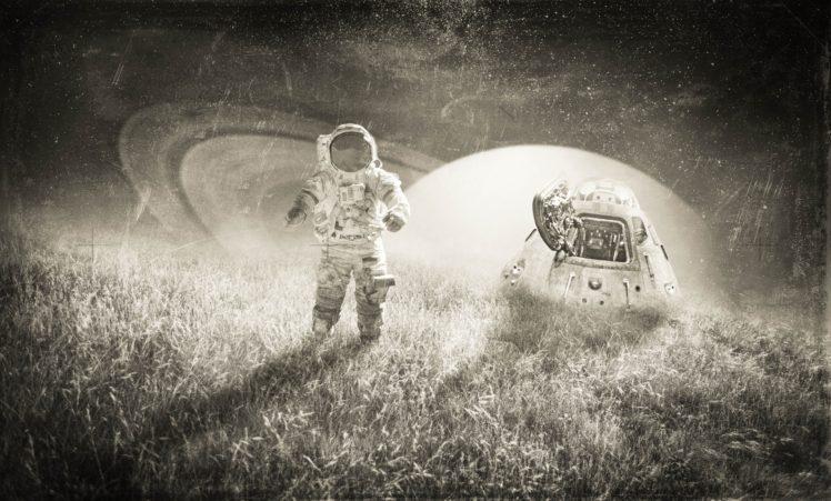 astronaut, Monochrome, Space art HD Wallpaper Desktop Background