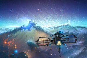 spaceship, Space, Colorful, Nebula, Stars