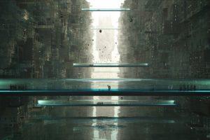 people, Science fiction, Bridge, Cityscape, Water
