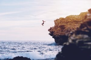men, Nature, Jumping, Cliff, Landscape, Sea