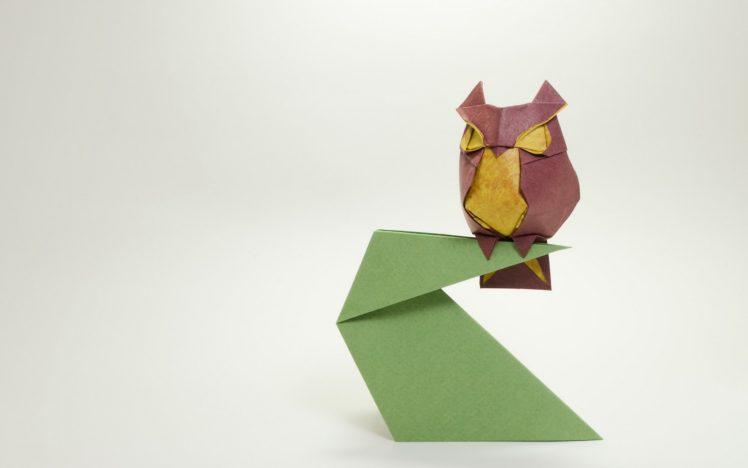 animals, Origami, Paper, Owl HD Wallpaper Desktop Background