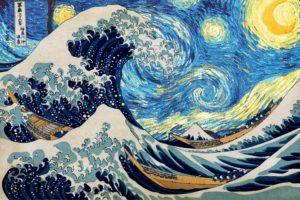 Vincent van Gogh, Hokusai, Starry night, The Great Wave off Kanagawa