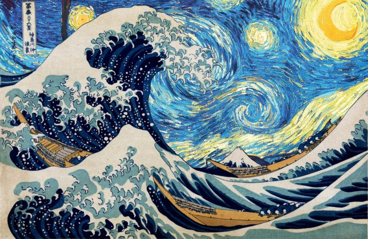 Vincent van Gogh, Hokusai, Starry night, The Great Wave off Kanagawa HD Wallpaper Desktop Background