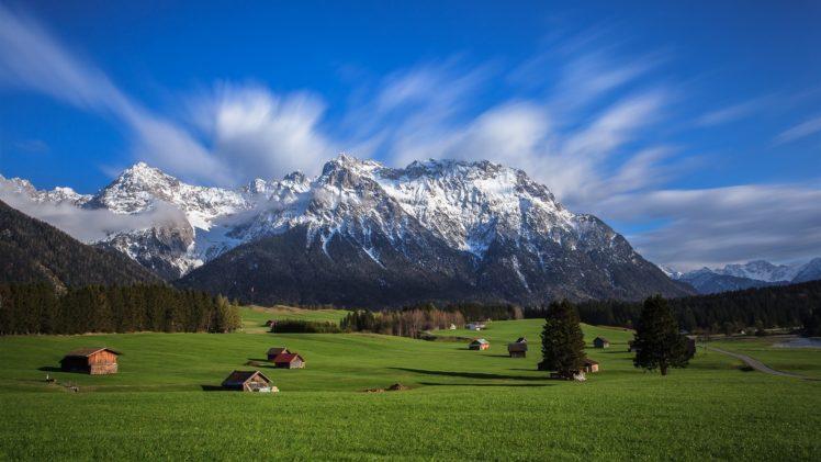 landscape, Mountains, Snowy peak, Field HD Wallpaper Desktop Background