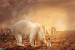 children, Bears, Landscape, Photo manipulation, Polar bears