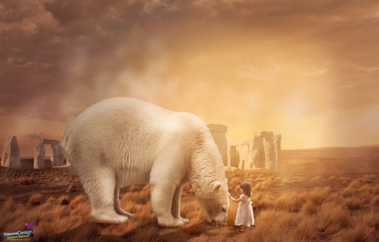 children, Bears, Landscape, Photo manipulation, Polar bears HD Wallpaper Desktop Background