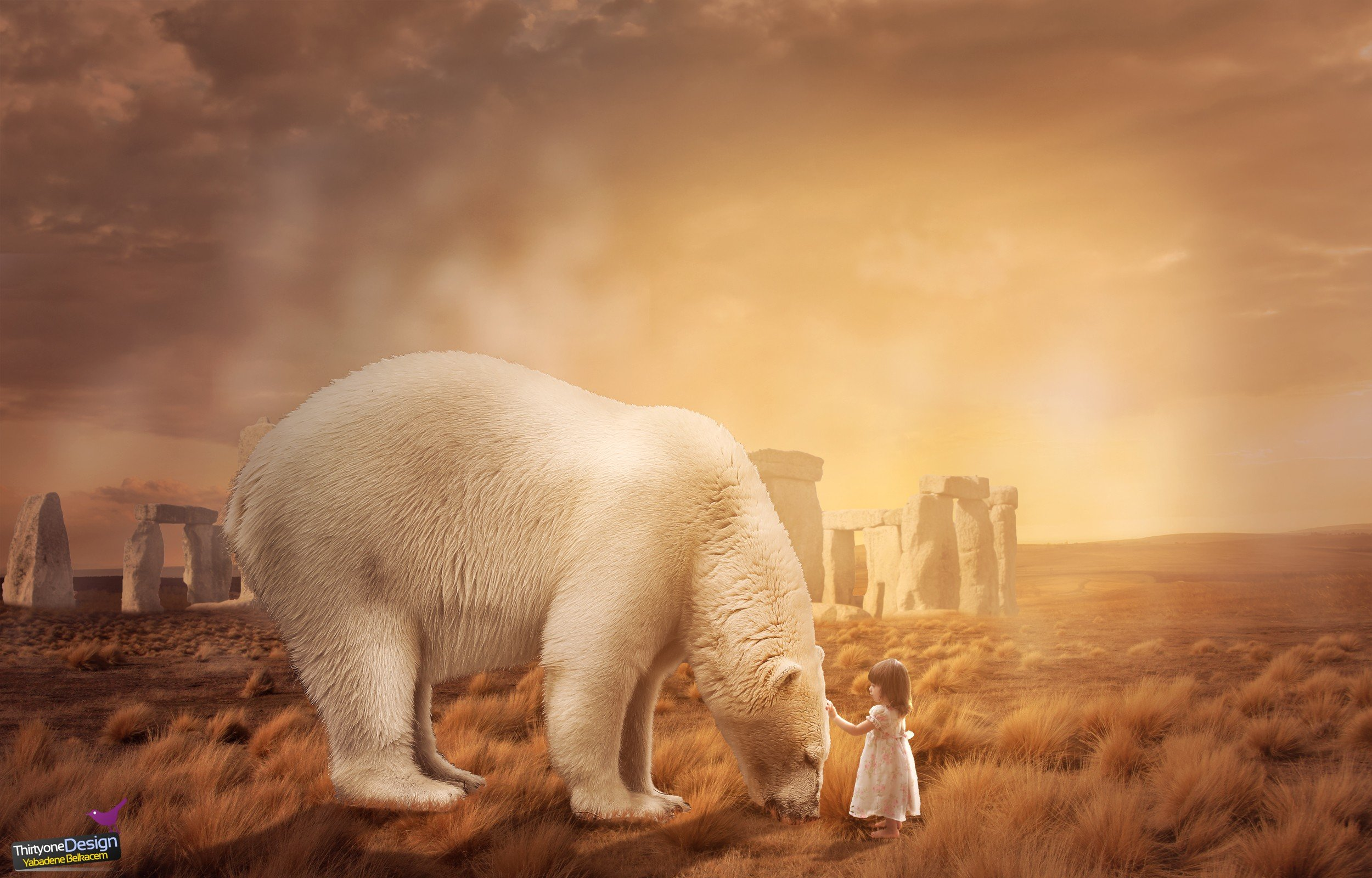 children, Bears, Landscape, Photo manipulation, Polar bears Wallpaper
