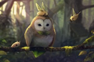 fantasy art, Artwork, Pokémon, Rowlet (Pokémon), Cutiefly (pokemon)