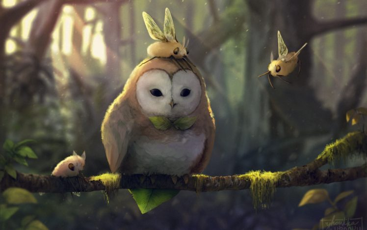 fantasy art, Artwork, Pokémon, Rowlet (Pokémon), Cutiefly (pokemon) HD Wallpaper Desktop Background