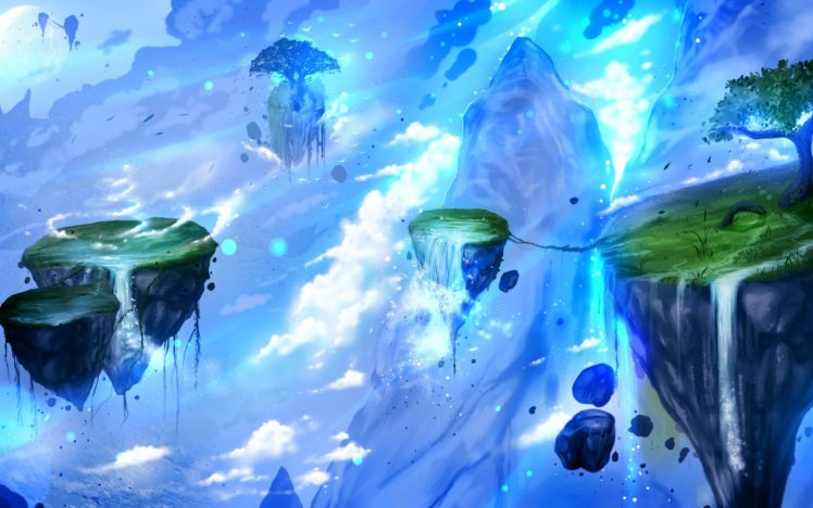fantasy art, Artwork, Floating island HD Wallpaper Desktop Background