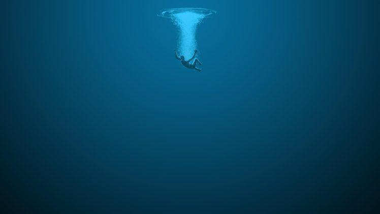 drowning, Simple background, Fan art, Blue background, Minimalism HD Wallpaper Desktop Background