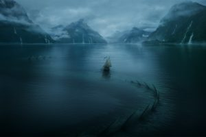 digital art, Mountains, Lake, Ship, Sea monsters, Mist