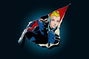 couple, Men, Women, Blonde, Diabolik, Eva Kant, Thief, Mask, Knife, Comics, Artwork