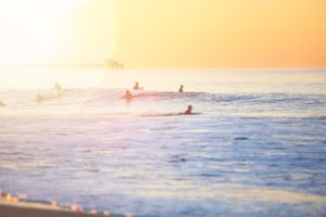 surfers, Nature, Waves, Sunset