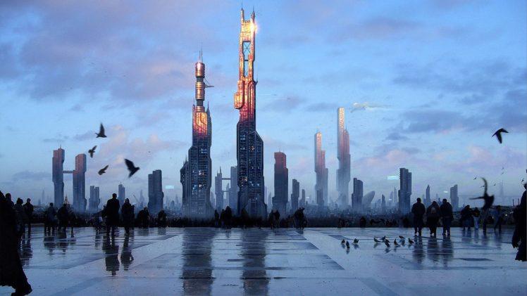 fantasy art, Futuristic, New paris HD Wallpaper Desktop Background