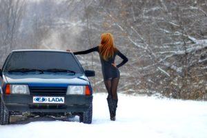 women, Redhead, Long hair, Women outdoors, Hands on hips, Snow, LADA, Car