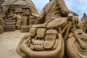 sculpture, Sand, Beach, Motorcycle, Triumph