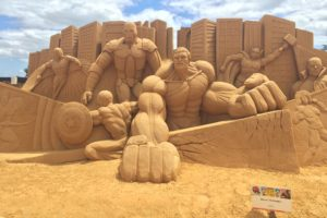 Nick Fury, Sculpture, Sand, Beach, The Avengers, Iron Man, Hulk, Thor, Captain America